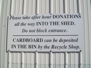 Signage for donation drop-offs